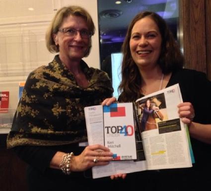 Keri Mitchell and Marie Gynane-Willis at Avenue Edmonton's 2013 Top 40 Under 40 celebration