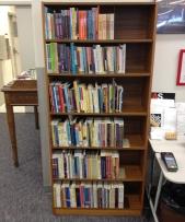 New shelf of books at Theatre Alberta's Library!