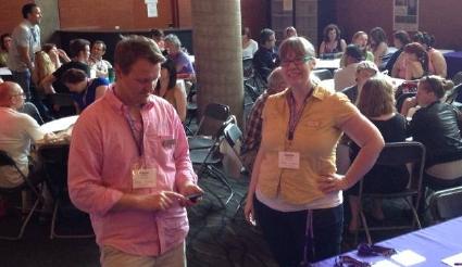 Frazer and Dennie register participants at Dramaworks 2014