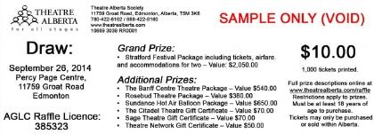 Theatre Alberta 2014 Raffle ticket stub COPY