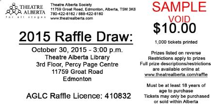 2015 Theatre Alberta Raffle Ticket sample