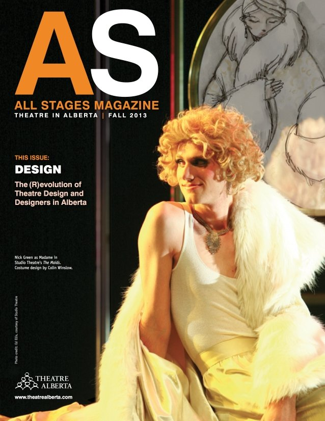 All Stages Magazine Cover Picturing a White Man in Drag Wearing a Short Curly Blonde Wig And Wearing a White Fur