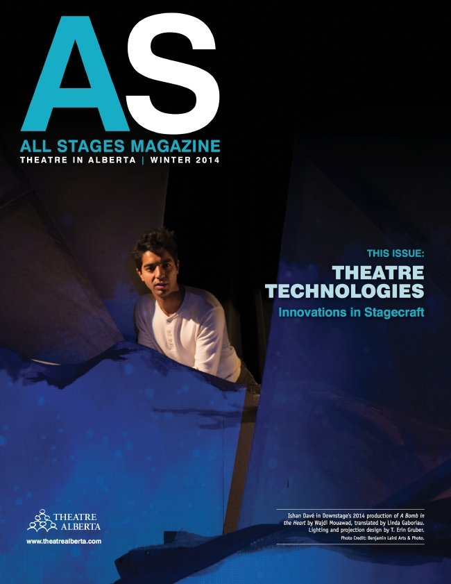 All Stages Magazine Cover Picturing A South Asian Man on a Blue Stage