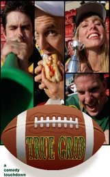 True Grid Text on Football Graphic With Four Images of Sports Fans At Sporting Event
