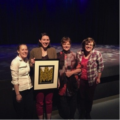 Kelly Malcolm (Co-Creator/Cast), Emma Sinclair (Co-Creator/Cast) Gail Whiteford (Festival Adjudicator), and Kathryn Smith (Director/Designer/Co-Creator).
