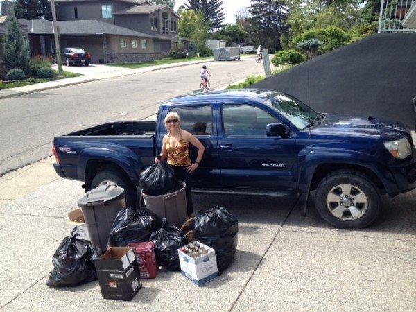 Artstrek Champion Helen Beach and a load of bottles for her bottle drive to raise money for Artstrek Scholarships.