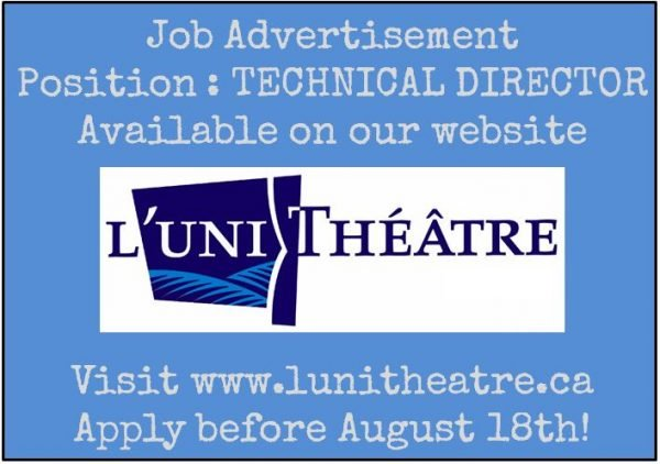 Job Edmonton Technical Director  LUnithtre  Theatre Alberta