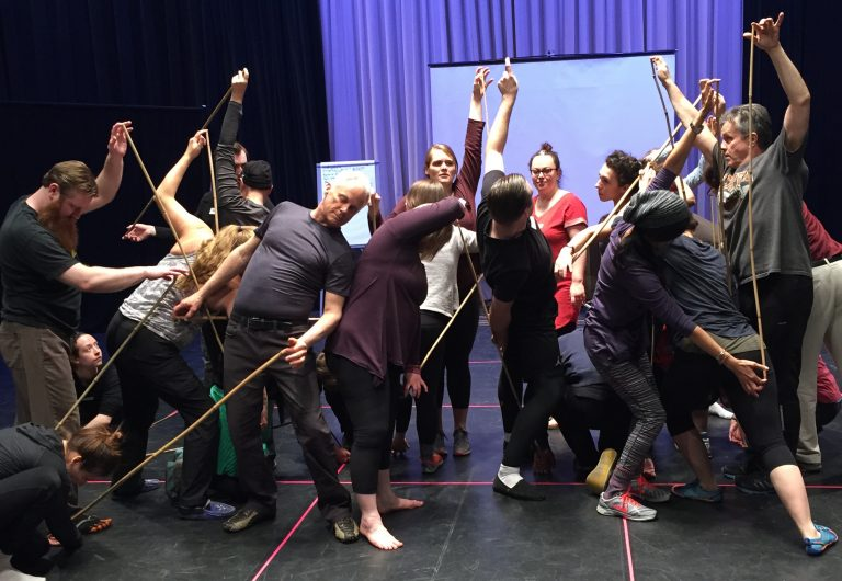 One to Two Dozen Workshops By Request Participants In Twisting Mass Hold a Thin Bamboo Pole Between Themselves and a Partner Using Only A Single Fingertop