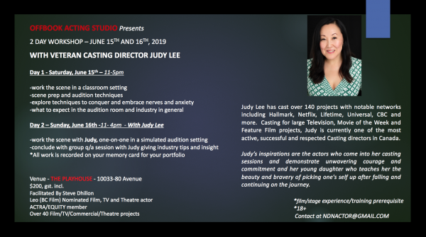 Workshop (Edmonton): 2-day workshop with veteran Casting