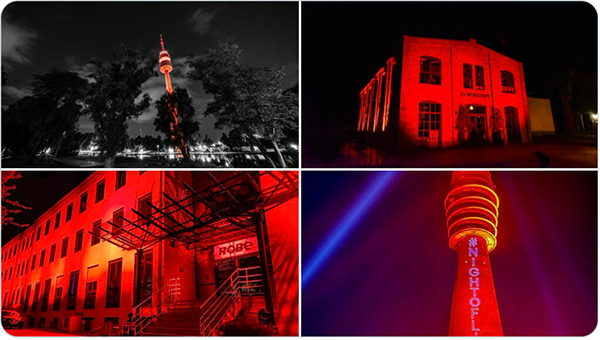 Buildings in red light