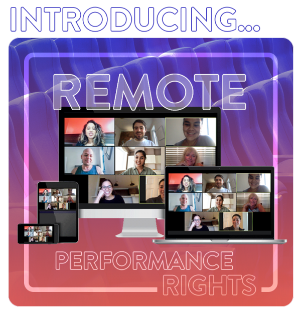 Introducing Remote Performance Rights. Image of computer screens with people in online meetings.