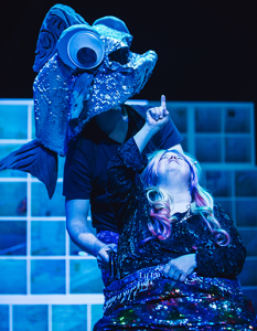 Mermaid stargazing in Most Imaginary Worlds by Inside Out Theatre's Point of View Ensemble.