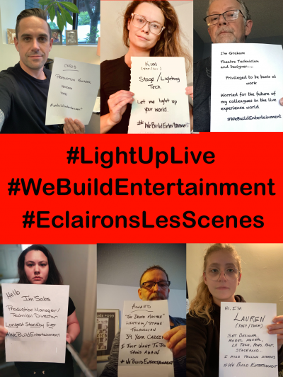 Six photos of people showing support for the LightUp Live event.