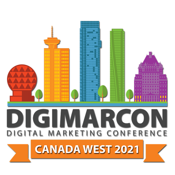 Image of graphic buildings with text Digimacon digital marketing conference Canada West 2021