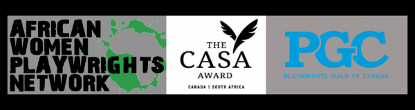 Banner text - African Women Playwrights Network - The CASA Award - Playwrights Guild of Canada