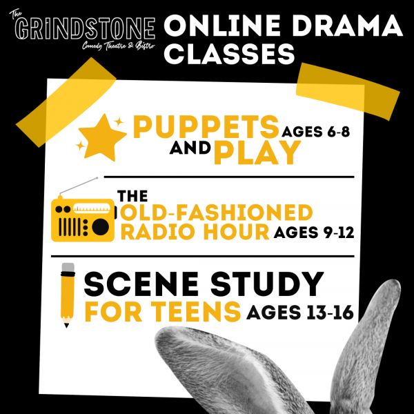 Poster image for Grindstone Theatre's online drama classes