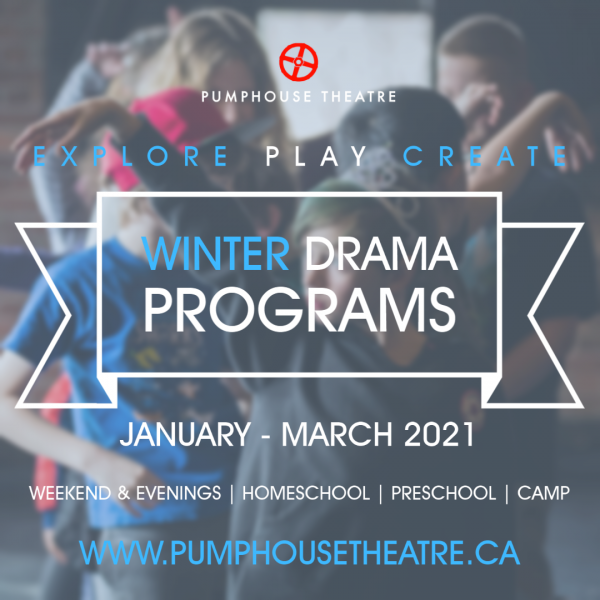 Image of children in background. Text: Explore Play Create Winter Drama Programs - January-March 2021
