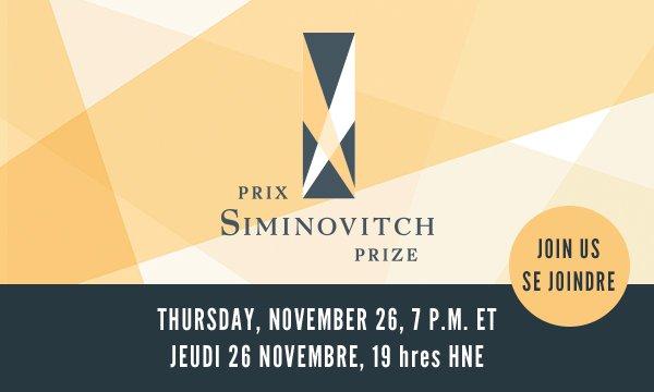 Siminovitch Prize - Thursday, November 26, 7:00pm EST