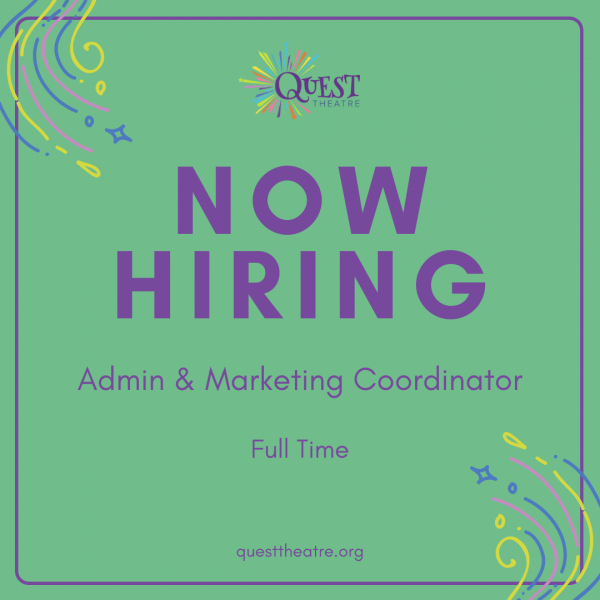 Green background with purple text: Now Hiring Admin & Marketing Coordinator