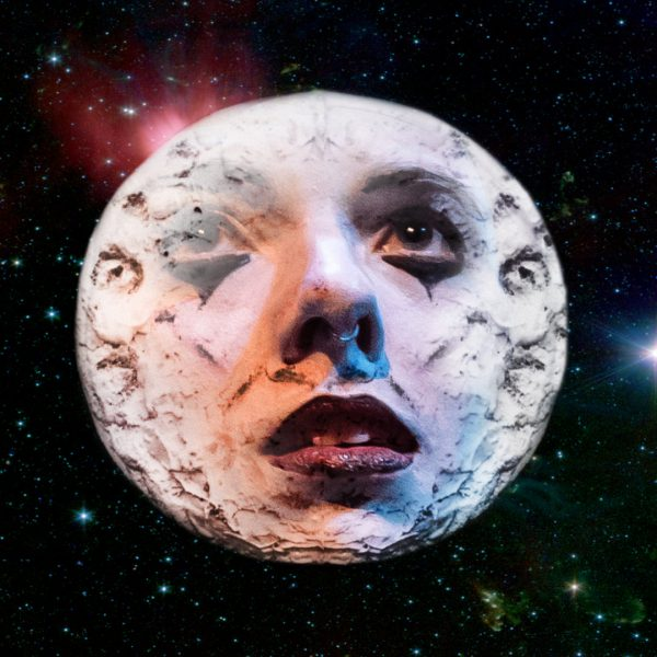 Image of the moon with clown-like face superimposed