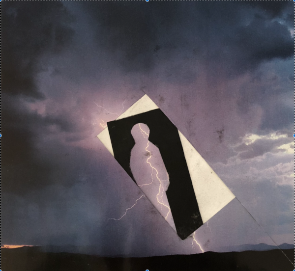 Image of cloudy sky. Human figure cut out of black background. Lighting can be seen running throught the human figure.