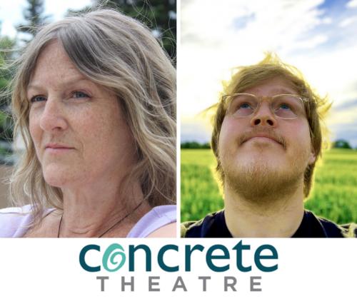 Headshots White Women and Blond Metis Man Over Concrete Theatre Logo