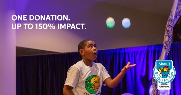 Image of youth juggling. Text: One donation - up to 150% impact.