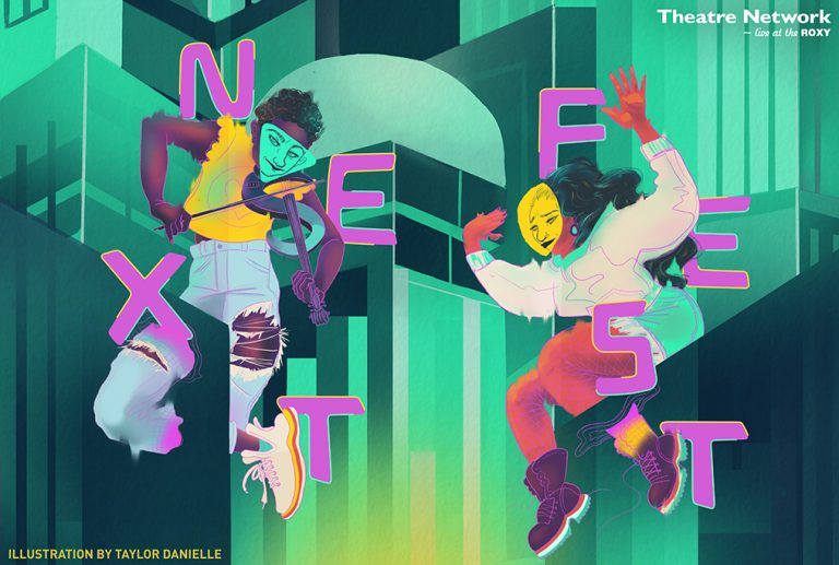 Illustration of Two Performers, One With Violin, Surrounded by Pink Lettering that Spells NEXTFEST