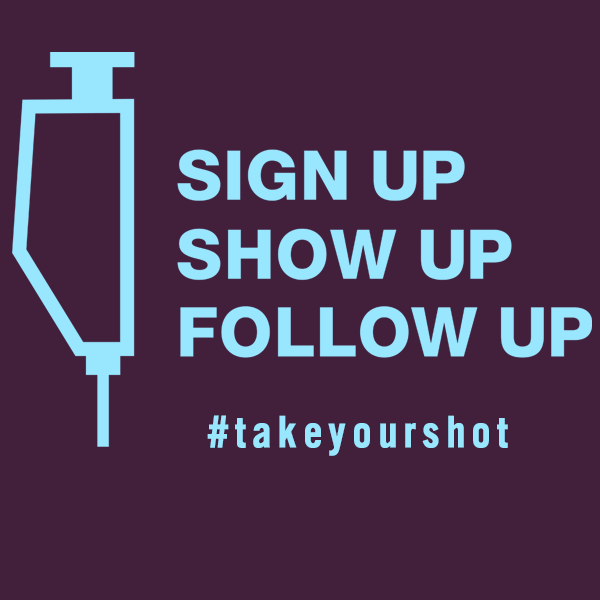 Graphic of Vaccine Syringe Shaped Like Alberta With Text Sign Up Show Up Follow Up #takeyourshot