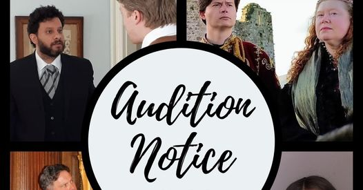 Audition notice banner - Audition notice written in the center of of white circle surrounded with four pictures of actors in each corner