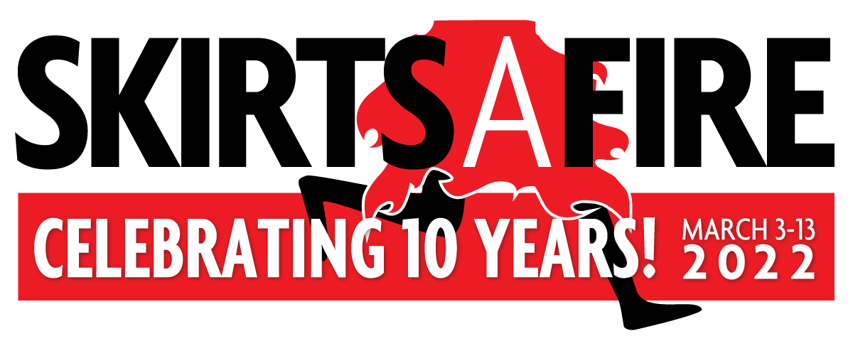 Skirts A Fire 2022 Festival Logo - Person running in red skirt with the words Skirts A Fire celebrating 10 years! March 3 - 13, 2022