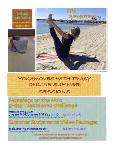 One page flyer for Yogamoves with Tracy Online Summer Session -