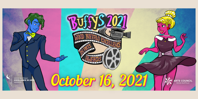 Cartoon image of male figure and female figure dancing. Buffys 2021 - Wood Buffalo Excellence in Arts Awards - October 16, 2021