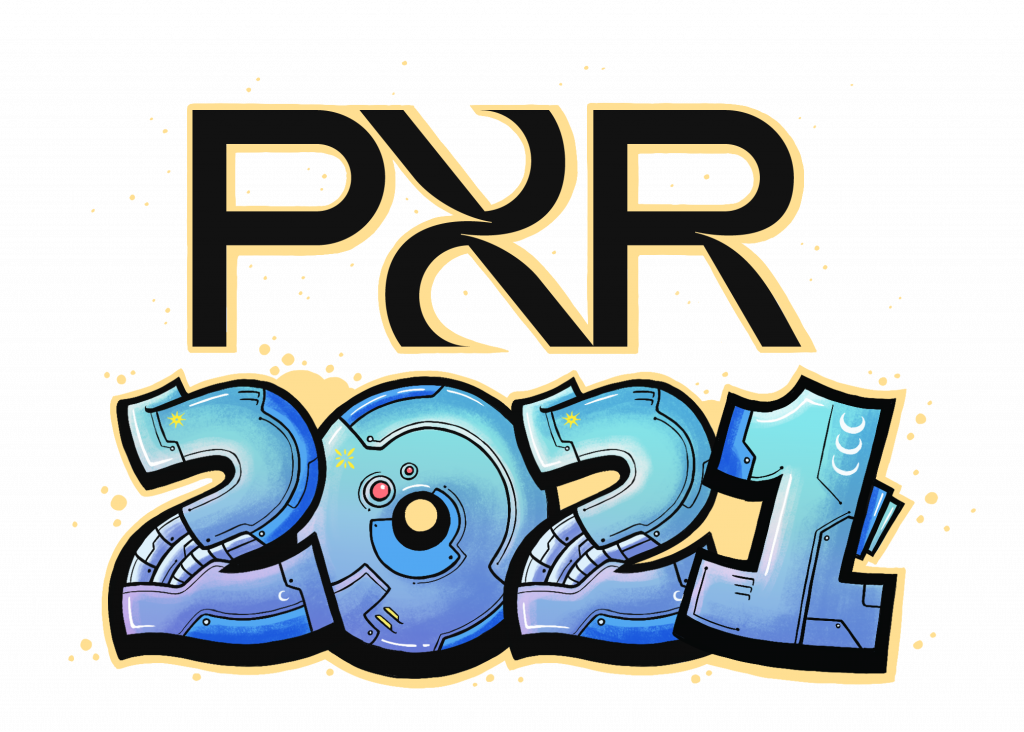 PXR laid out in big, blue coloured graphic letters with the number 2021 laid out below in black.
