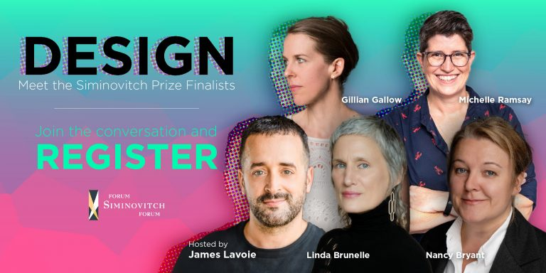 Image of four finalists for the 2021 Siminovitch Prize and the event host